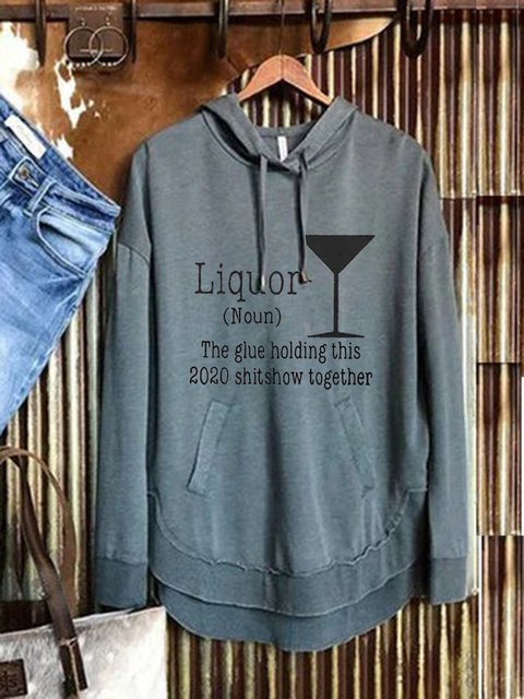 Blue Long Sleeve Casual Cotton-Blend Sweatshirt