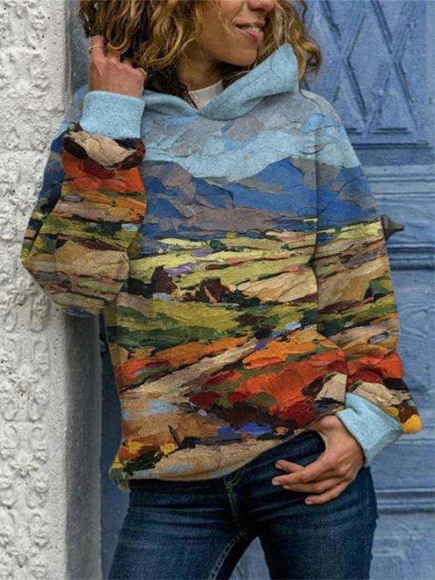 Blue Vintage Printed Hoodie Casual Sweatshirt