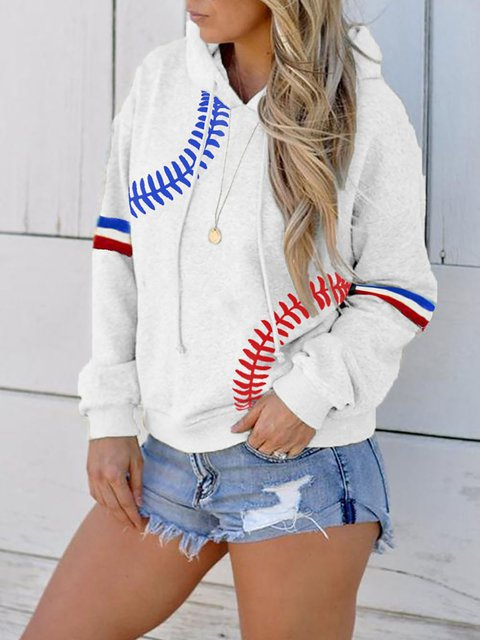 Baseball Print Contrast Color Stitching Casual Hoodie