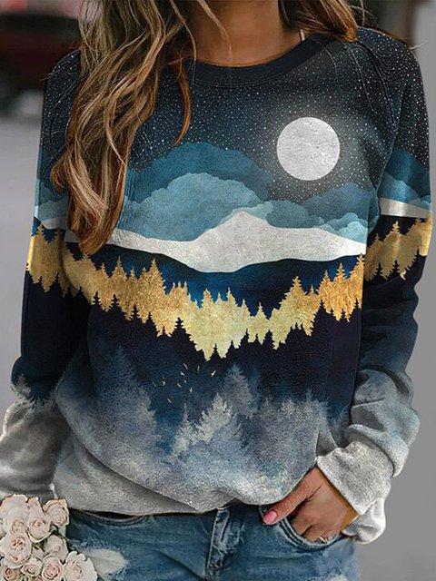 Casual loose mountain print sweatshirt