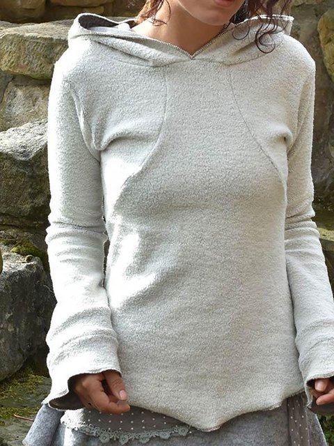 Cotton Cashmere Rolled Long Sleeve Casual Hoodie