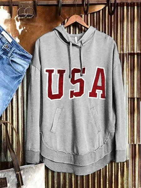 Gray Long Sleeve Casual Letter Sweatshirt