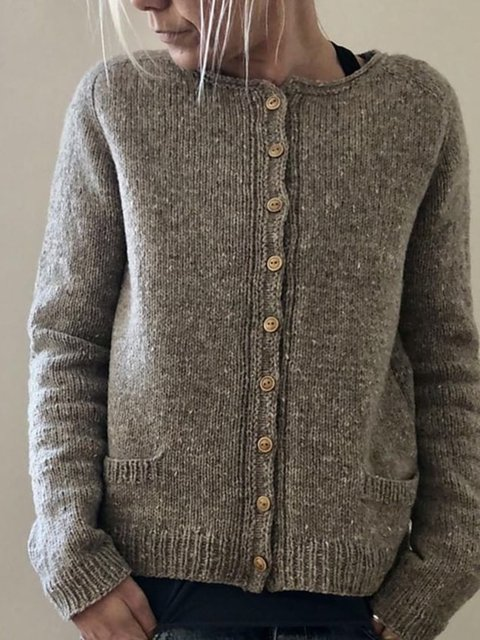Brown Solid Long Sleeve Sweater