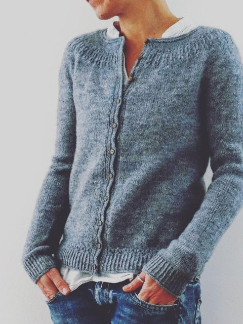 Blue Solid Cotton Long Sleeve Casual Sweater