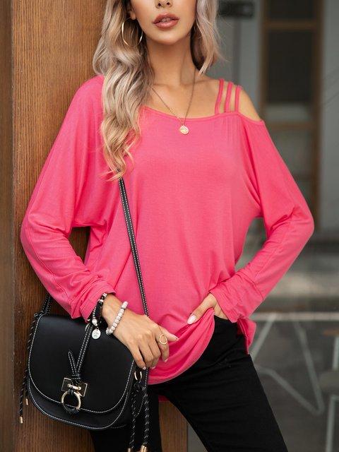 Pink Paneled Casual Crew Neck Long Sleeve Shirts & Tops