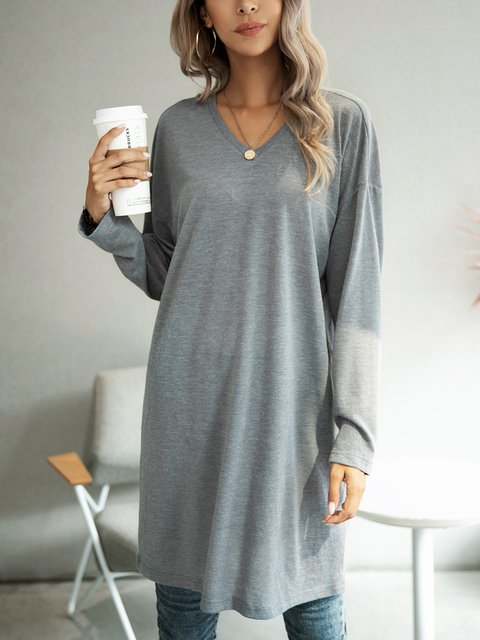 Gray Solid A-Line Long Sleeve Dresses