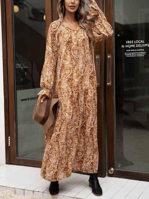 Yellow Boho Cotton-Blend Shift Floral Dresses