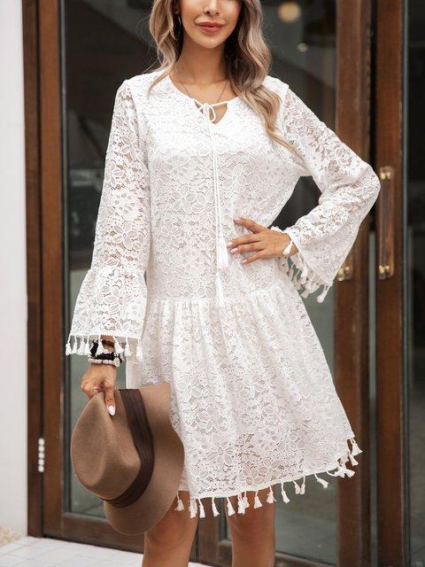White Fringed Swing Long Sleeve Cotton-Blend Dresses