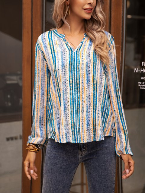 Blue Long Sleeve Paneled Shirts & Tops