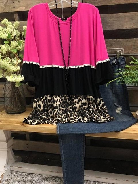 O-Neck Leopard Shirts & Tops