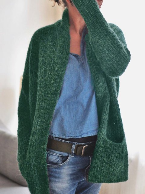 Green Simple Pockets Sweater