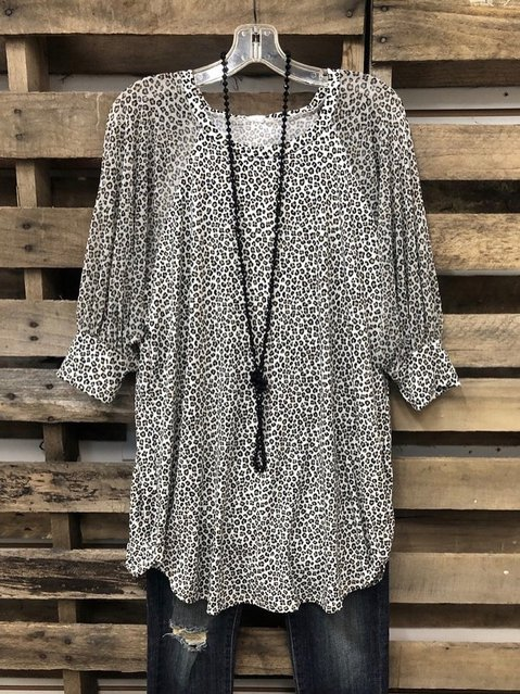 Leopard 3/4 Sleeve O-Neck Shirts & Tops