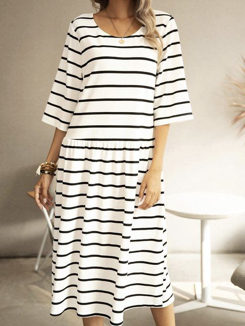 White Cotton-Blend Paneled Striped Boho Dresses