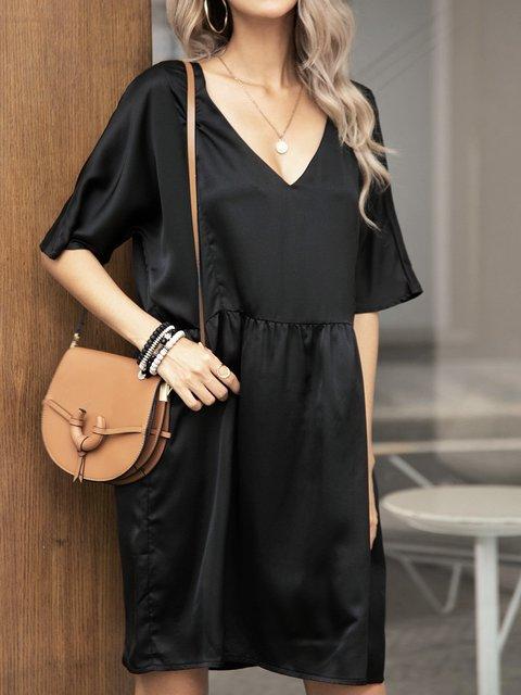 Black Plain Paneled Half Sleeve Cotton-Blend Dresses