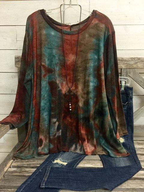 Multicolor Casual Cotton-Blend Color-Block Shirts & Tops