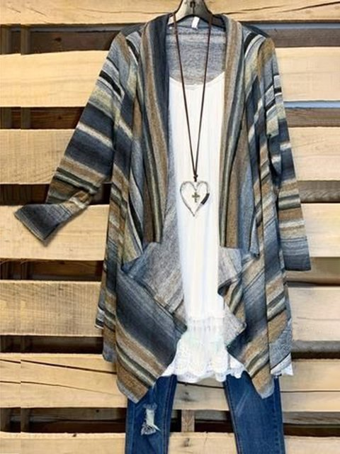 Multicolor Long Sleeve Striped Cotton-Blend Outerwear