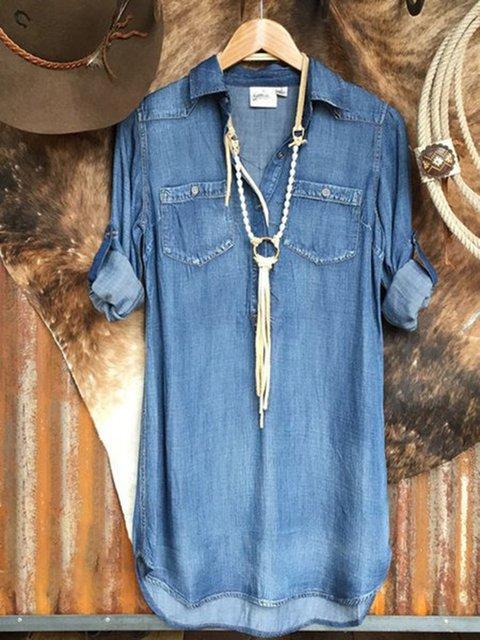 Blue Long Sleeve Denim Shirt Collar Plain Dresses