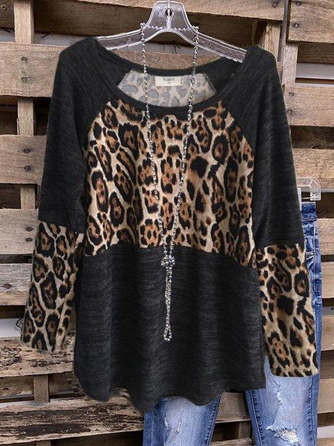 Black Cotton-Blend Casual Crew Neck Leopard Shirts & Tops