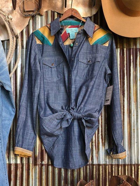 Blue Shirt Collar Cotton-Blend Long Sleeve Shirts & Tops