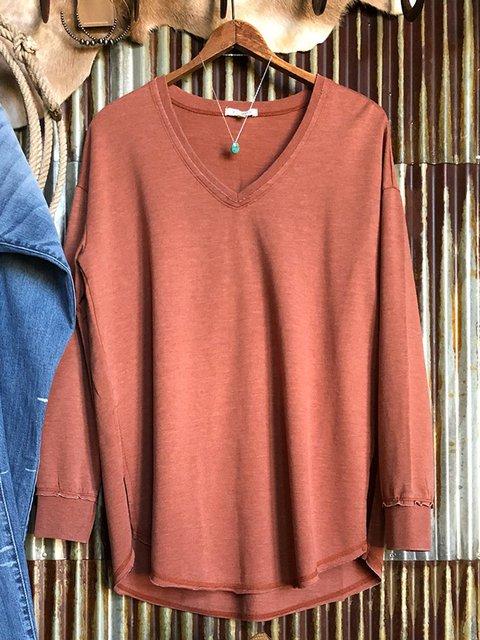 Brick Red Casual Plain Long Sleeve Sweatshirt
