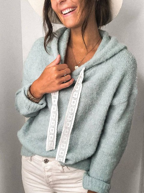 Blue Long Sleeve Simple Knitted Sweater