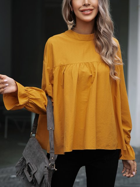 Yellow Casual Ruffled Cotton-Blend Shirts & Tops