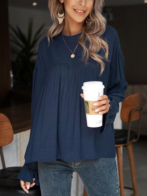 Blue Cotton-Blend Long Sleeve Ruffled Plain Shirts & Tops