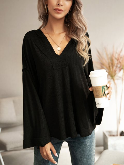 Black Solid Cotton-Blend V Neck Long Sleeve Shirts & Tops