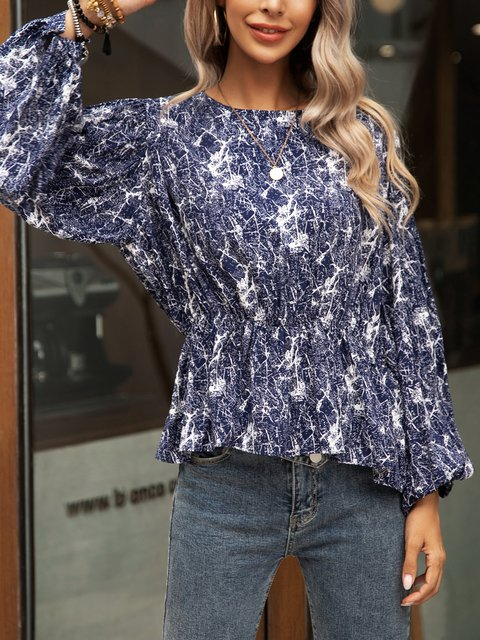 Blue Casual Crew Neck Long Sleeve Shirts & Tops