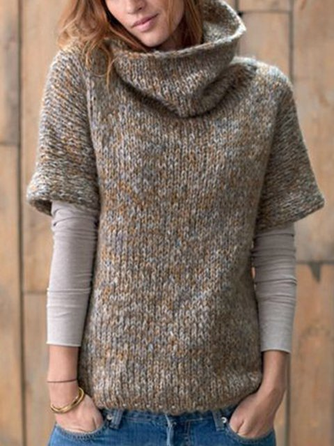 Gray Woven Casual Shift Turtleneck Sweater
