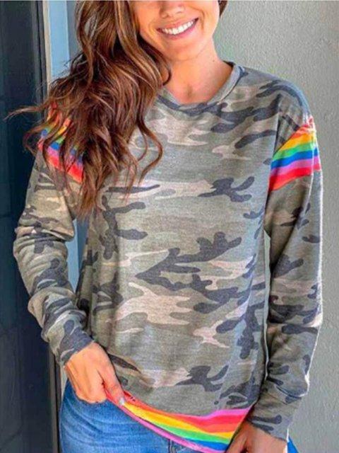 Women's As Picture Camo Long Sleeve Crew Neck Shift Shirts & Tops