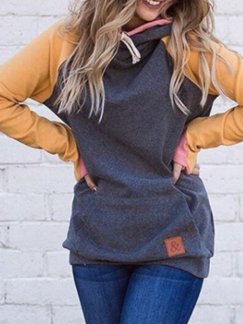 Gray Hoodie Long Sleeve Sweatshirt