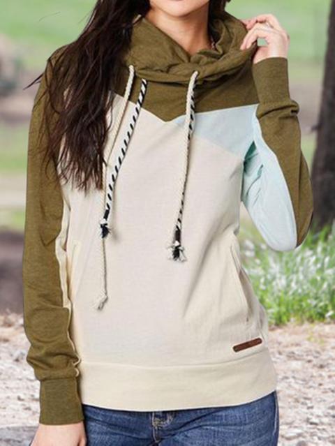 Beige Color-block Pockets Hoodie Sweatshirt
