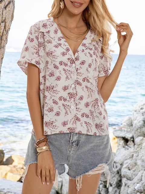 Floral Shawl Collar Boho Cotton-Blend Shirts & Tops