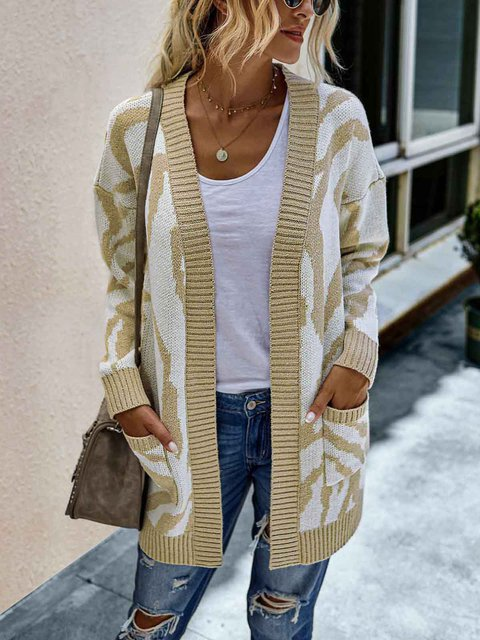 Casual Long Sellve Mid-length Sweater Cardigan