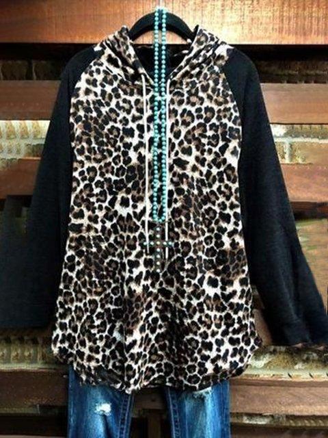 Black Cotton-Blend Leopard Long Sleeve Hoodies