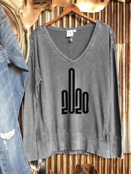 2020 Gray Casual Long Sleeve Sweatshirt