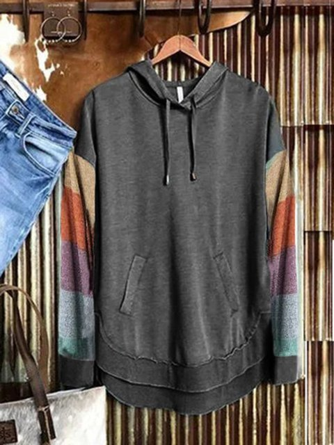 Deep Gray Long Sleeve Striped Casual Sweatshirt