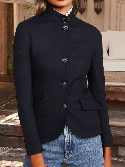 Black Stand Collar Casual Plain Outerwear