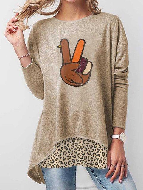 Thanksgiving Turkey Print Leopard T-shirt