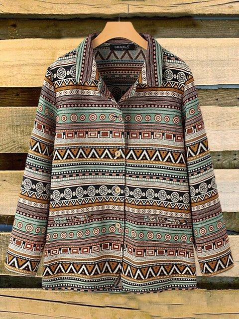 Vintage Ethnic Print Long Sleeves Turn-down Collar Jacket