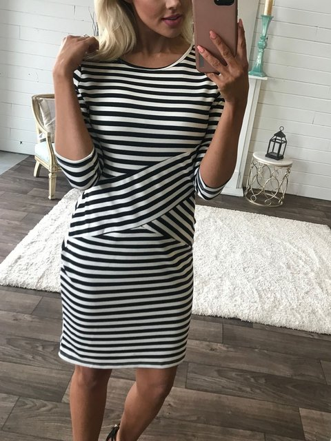 Soft Modal Knit Striped Crist Cross Dress