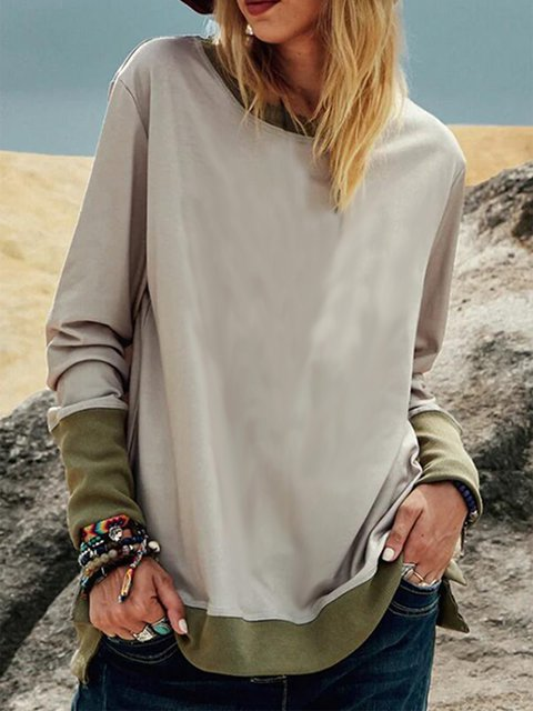 Gray Color-Block Long Sleeve Crew Neck Sweatshirt