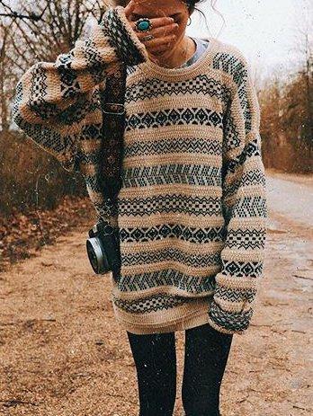 Crew Neck Cotton-Blend Long Sleeve Sweater