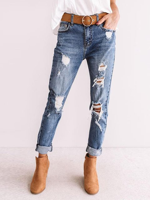 Blue Plain Denim Vintage Relaxed Skinny Pants
