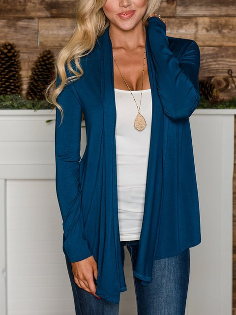 Perfect and simple open ruffled cardigan blue