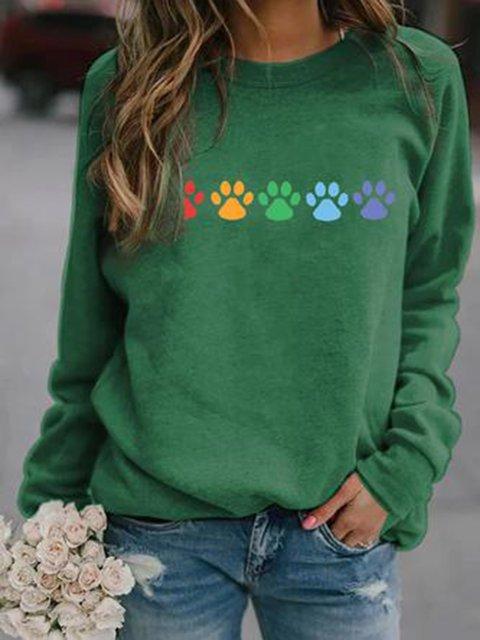 Dog Paw Green Long Sleeve Crew Neck Cotton-Blend Sweatshirt