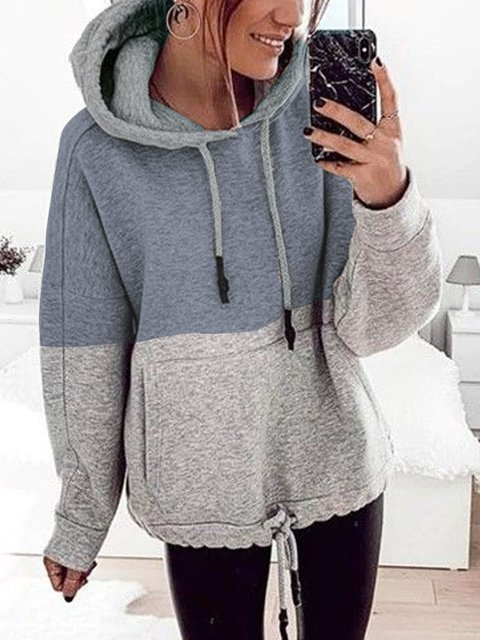 Long Sleeve Color-Block Shift Hoodie Shirts & Tops