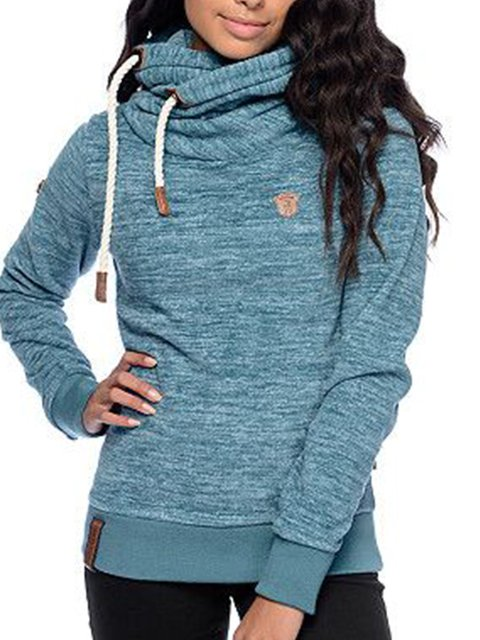 Blue Cotton-Blend Casual Long Sleeve Sweatshirt