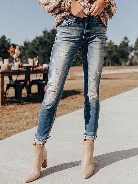 Blue Vintage Plain Pants
